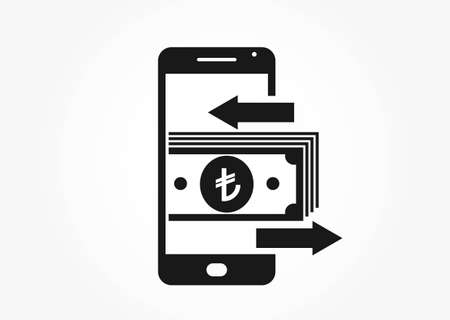 mobile money transfer icon. turkish lira on mobile phone. financial and mobile transaction symbol for web design Vektoros illusztráció