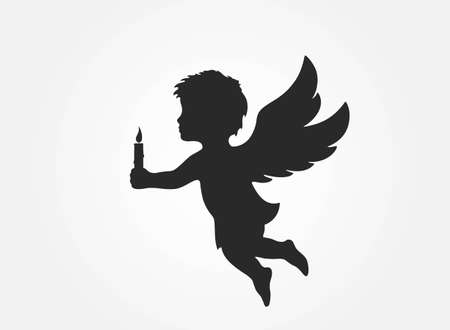 angel with a candle. christmas symbol. isolated vector black silhouette image 向量圖像