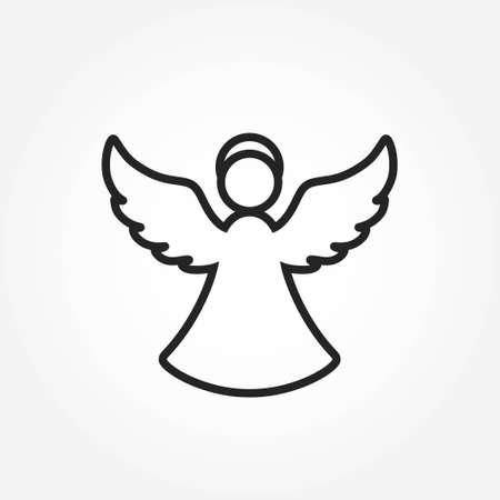 christmas angel line icon. christianity and christmas symbol. isolated vector image