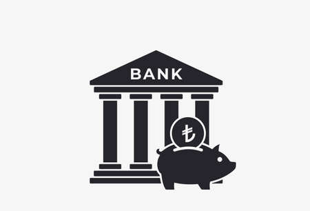 bank deposit icon. piggy bank with turkish lira coin. finance and banking symbol in simple style