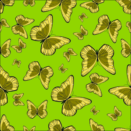 butterfly background: Vector pattern of a butterfly on a green background