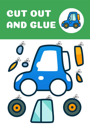 Cut out and glue tiny blue car