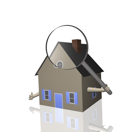 3D house holding a magnifying glass. photo