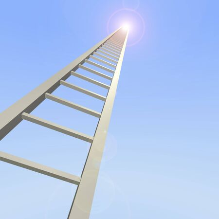 3D ladder reaching up to the sky.