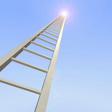 rungs: Escalera 3D alcanza hasta el cielo.