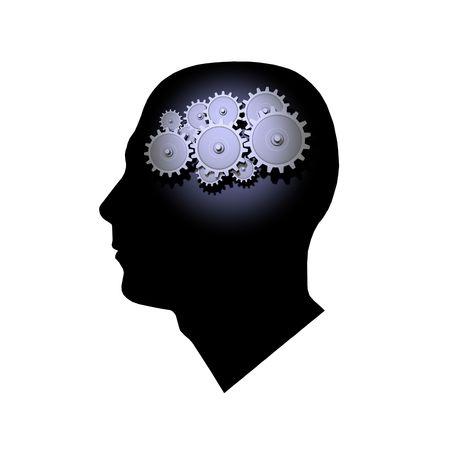cognicion: Gears 3D dentro del perfil de la cabeza de un hombre.  Foto de archivo