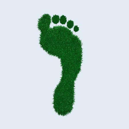 Image of a green grass footprint. photo