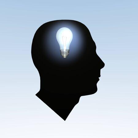 Light bulb turning on inside a head. photo