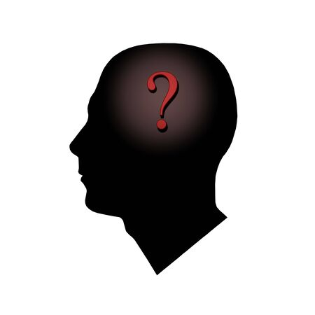 A question mark inside of a mans head. photo