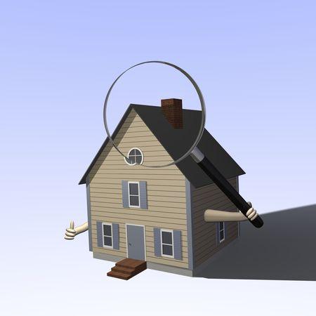 A 3D house holding a magnifying glass. Standard-Bild