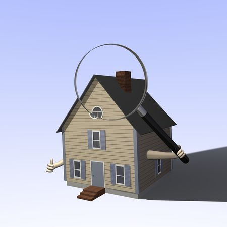 Una casa 3D sosteniendo una lupa.