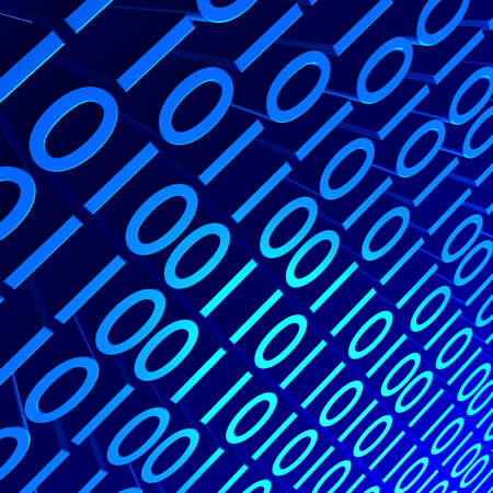 3D background image of blue binary digits. Stock Photo - 6560119