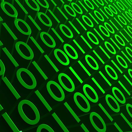 Background image of green 3D binary digits. Stock Photo - 6560149