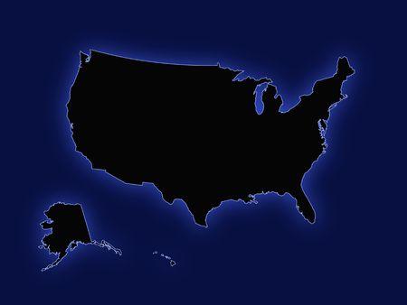 Mapa de los Estados Unidos azul  Vectores