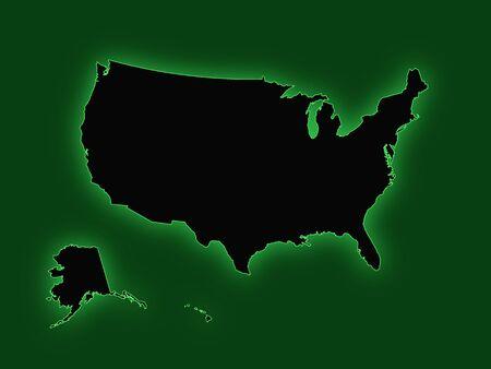 us map: Green US Map Illustration