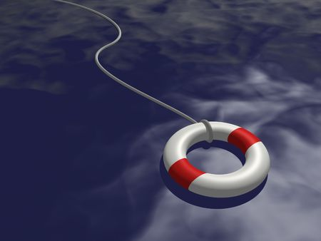 survive: Image of a life preserver floating on blue water. Stock Photo