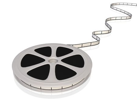 Image of a 3D film reel isolated on a white background.