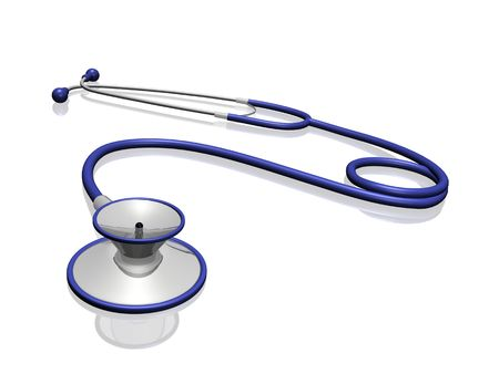 A blue and silver stethoscope modelled in a 3D program. Stock Photo - 6851719