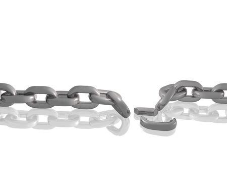 broken link: Catena 3D su uno sfondo bianco con un collegamento interrotto.