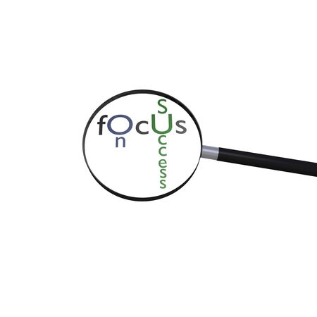 Magnifying glass focusing on the word  Stock Photo