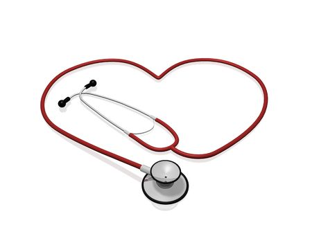 A red stethoscope in the shape of a heart.