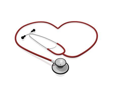 Un estetoscopio rojo en forma de un coraz�n.