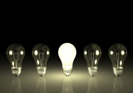 One bright light bulb next to unlit bulbs.