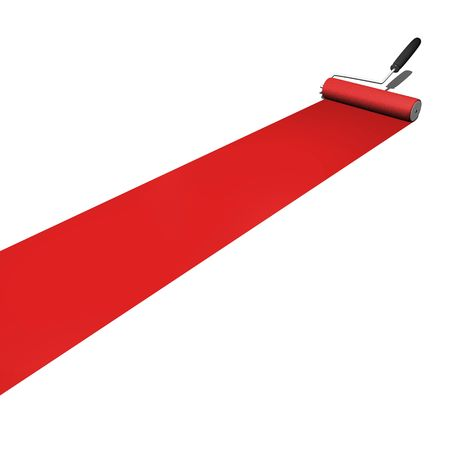 Red paint being rolled on a white background. Stock Photo