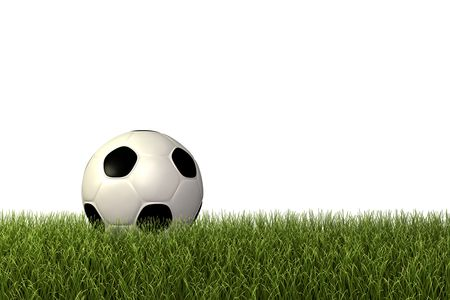 Image of  a football  soccerball on green grass. Stock Photo