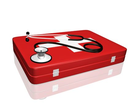 A 3D stethoscope on top of a medical kit.