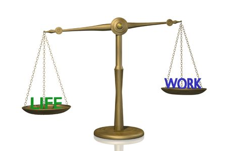 Concept image of a scale showing the balance between work and life.