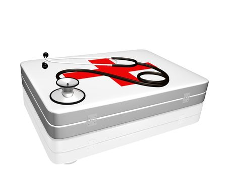 Image of a 3d stethoscope on top of a medical kit isolated on a white background. photo