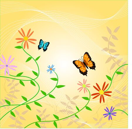 Butterfly and Floral Illustration Stock Photo
