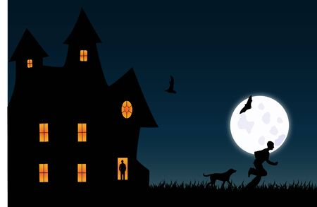 modern house: Scary Illustration Stock Photo