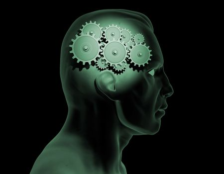 Image of gears inside of a man's head. Stock Photo - 6985172
