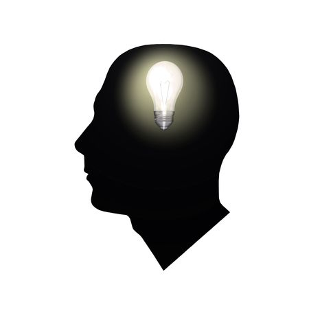 business graphics: Image of a light bulb inside of a mans head.