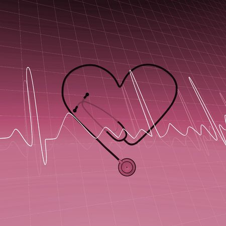 聴診器と心電図の心のイメージを破った。 写真素材