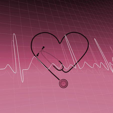 nursing treatment: Imagen de estetoscopio y coraz�n de ECG beat.  Foto de archivo