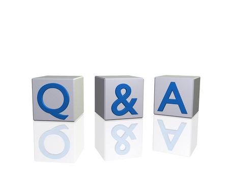 Imagen de Q&A (preguntas y respuestas) sobre los bloques 3d aislado en un fondo blanco.