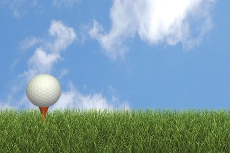 Image of a golf ball on a tee against a blue sky. Imagens