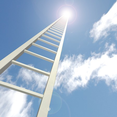 Concept image of a ladder reaching up towards a blue sky. Stock Photo