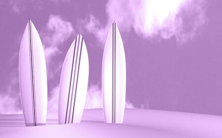 Image of three surfboards on a sunny beach. photo