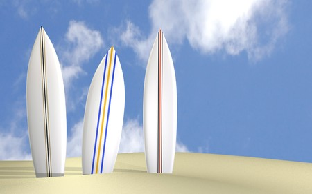 longboard: Image of three surfboards on a sunny beach.