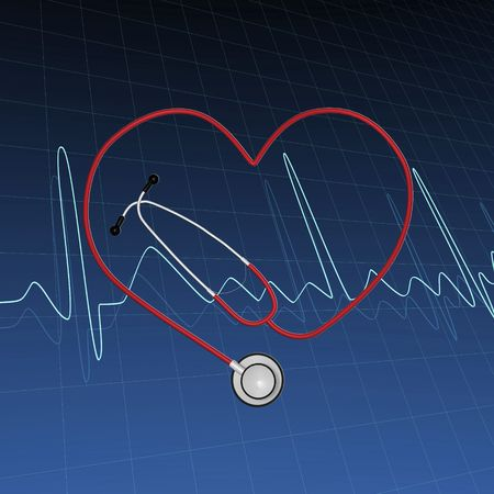 Abstract background image with ECG curves and stethoscope.