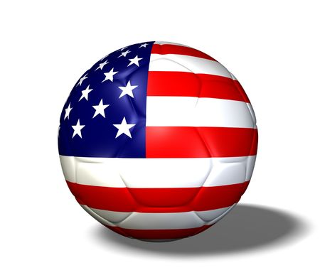 Image of a soccer ball with the flag from the United States of America. photo