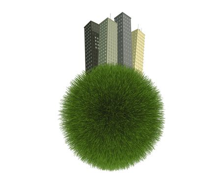 grass blades: Concept image of buildings on a green grass planet isolated on a white background. Stock Photo