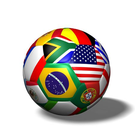 Image of a soccer ball with flags from various countries isolated on a white background. Stockfoto