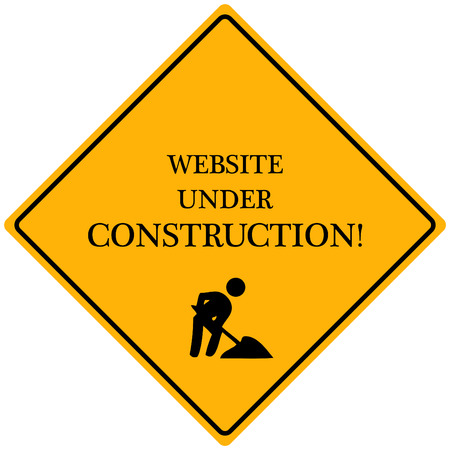 web page under construction: Image of a yellow sign reading