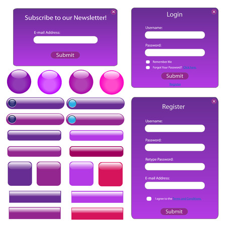 Purple web template with forms, bars and buttons. Vector