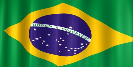 3D image of the flag from Brazil. Reklamní fotografie